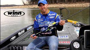 Bassmaster Elite Series™ Pro, Brandon Lester, shows off one of the new 2015 Winn Fishing Grips.